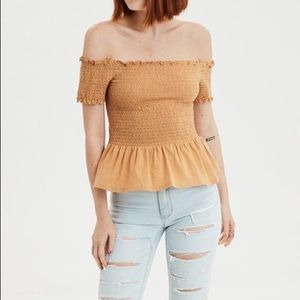 AE Off-the-Shoulder Smocked Yellow Peplum Top